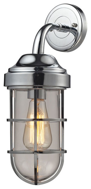 Seaport 1-Light Sconce, Polished Chrome - Beach Style ...