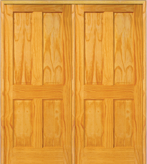 Shop houzz masonite 4 panel pine interior double door with astragal interior doors - Swinging double doors interior ...