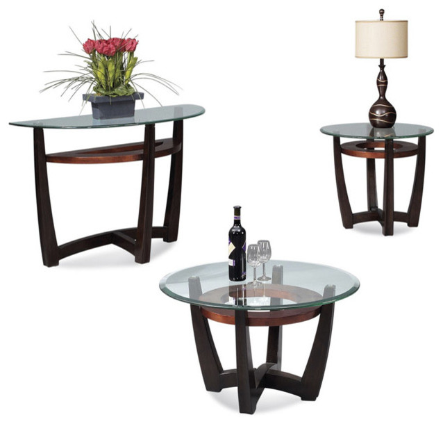 Charmant Bassett Mirror Elation Round 3 Piece Glass Top Cocktail Table Set