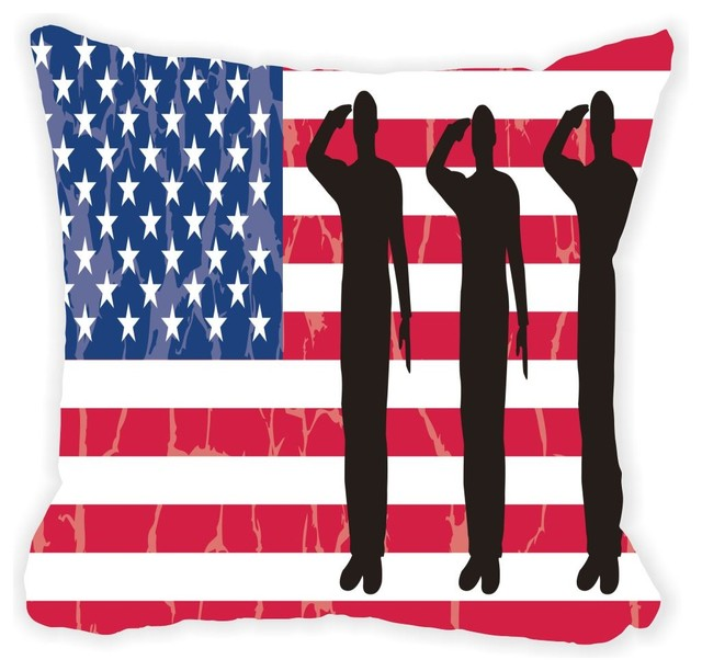 Us Army Silhouettes On American Flag Microfiber Throw Pillow Stunning American Flag Decorative Throw Pillow