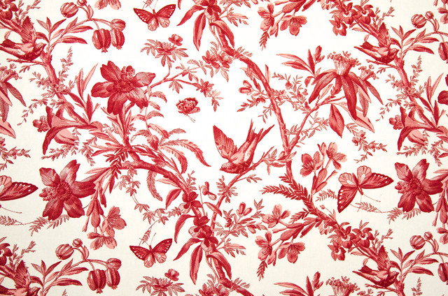 Brick House Fabrics Red Toile Fabric Bird Butterfly