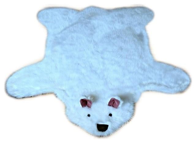 Awesome Shaggy Faux Fur Teddy Bear Play Rug, 4u0027x5u0027 Contemporary Novelty
