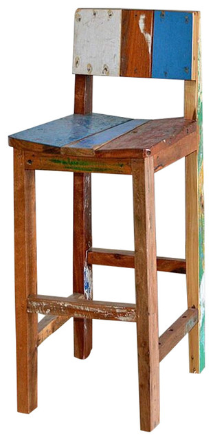 Reclaimed Bali Boat Wood Teak Bar Chairs Tropical Bar Stools And Counter