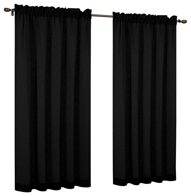"Urbanest 54"" By 84"" Fauxlinen Sheer Set Of 2 Curtain Panels, Black."