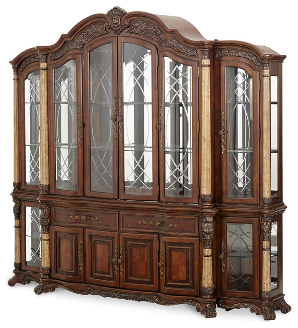 Large Victorian Dining Room: AICO Victoria Palace China Cabinet With Side Piers, Light