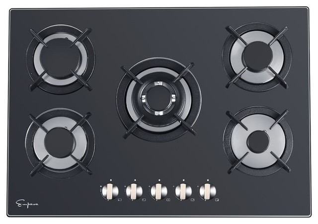 Black Tempered Gl5 Italy Sabaf Burners Stove Top Gas Cooktop 30 Contemporary Cooktops By Empava Appliances Inc