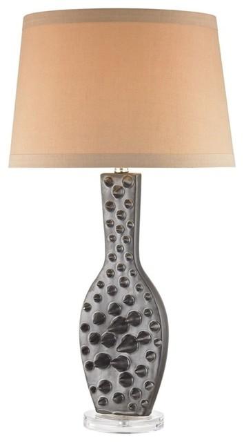 Silkfloss 1 Light Table Lamp, Bronze Glaze.