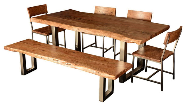 Live edge rustic dining table chairs and bench 6 piece for Kitchen set scandinavian