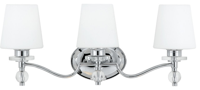 Bathroom Vanity Lights Polished Chrome connaught bath fixture with polished chrome finish - transitional