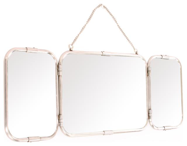 Retro Chic Mirror Treble With Three Panels Antiqued