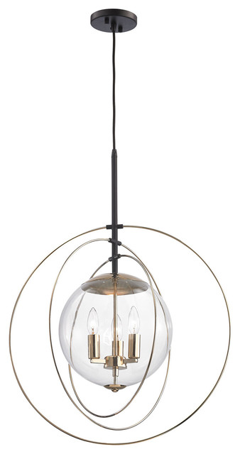 Zonas 3 Light Chandelier, Polished Gold, Oil Rubbed Bronze