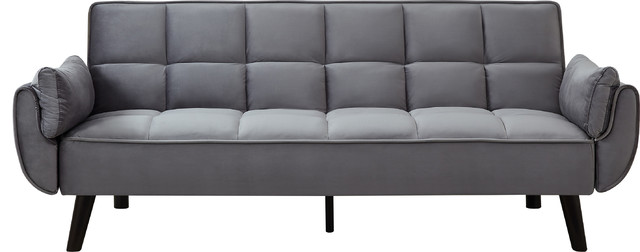 Venezia Velvet Tufted Sofa Bed, Gray