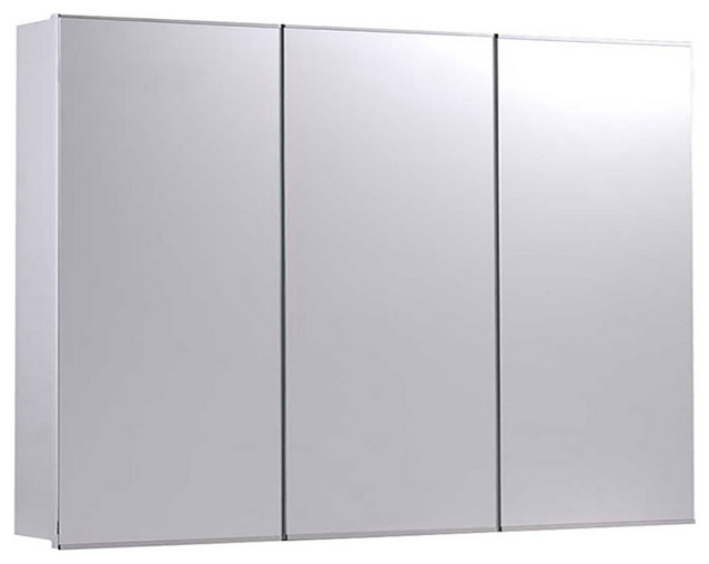 "Tri-View Series Medicine Cabinet, 36""x30"", Bright Annealed Stainless Steel Trim"