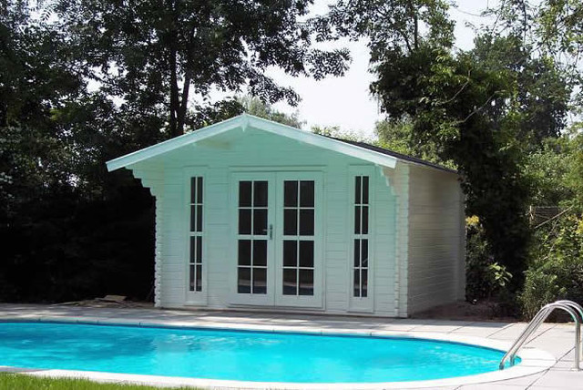 Bristol garden shed pool house for Shed into pool house