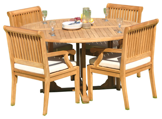 5 Piece Outdoor Patio Teak Dining Set 60 Round Table And 4 Sack Arm Chairs Traditional Outdoor Dining Sets By Teak Deals