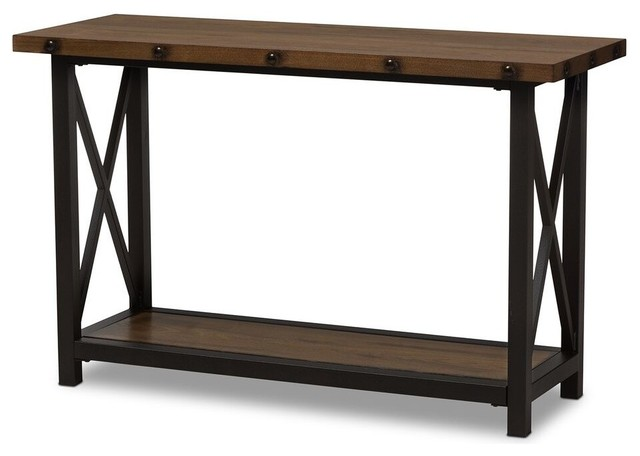 Herzen Textured Finished Metal Distressed Wood Occasional Console Table.
