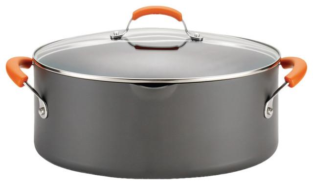 Hard-Anodized Ii Nonstick 8-Quart Covered Oval Pasta Pot, Gray, Orange Handles.