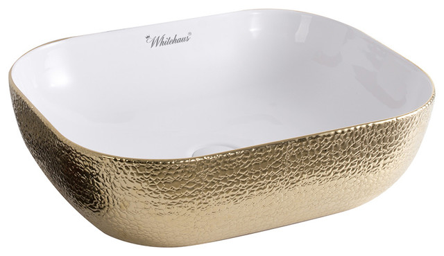 Whitehaus Wh71333-F25 Ceramic Sink W/ Embossed Exterior And Smooth Interior