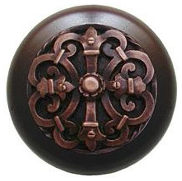 Chateau Wood Knob, Antique Brass, Dark Walnut Wood Finish ...