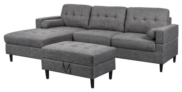 Vita 3 Seater Chaise Sectional Sofa Set With Storage Ottoman