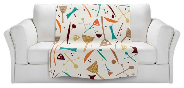 """Mid Century Hero Cream Sherpa Pile Blanket, 60""""x50"""""""