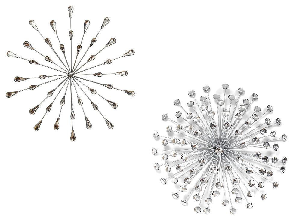 Acrylic Bling Burst Wall Decor Silver With Acrylic Burst Wall Decor Silver Midcentury Wall Accents By Virventures