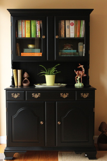 Black Painted Dining Room Hutch Eclectic