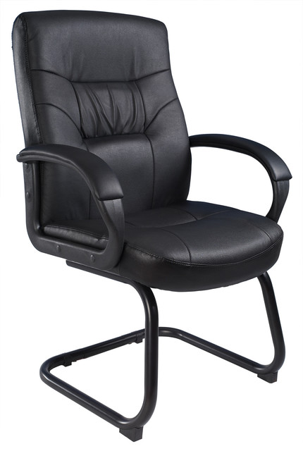 Boss Chairs Boss Executive LeatherPlus Guest Chair With Cantilever Sled Base
