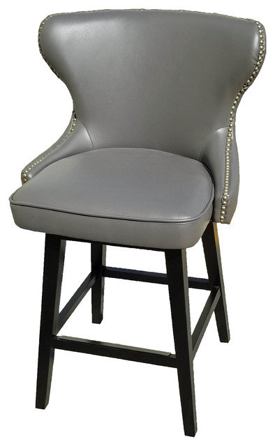 Gray Leather Swivel Counter Stool Transitional Bar