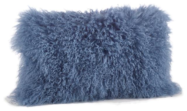 Mongolian Lamb Fur Design Down Filled Throw Pillow, Blue-Gray