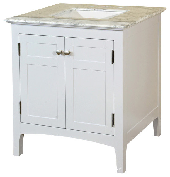 29 Inch Single Sink Vanity-Wood-White Cabinet Only - Transitional - Bathroom Vanities And Sink ...