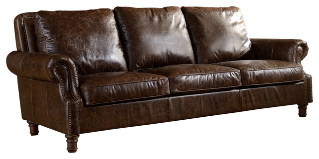 Exceptionnel Leather English Rolled Arm Sofa, Dark Brown