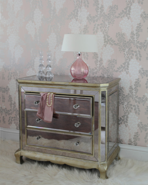 Venetian Distressed 3Drawer Mirrored Chest of Drawers