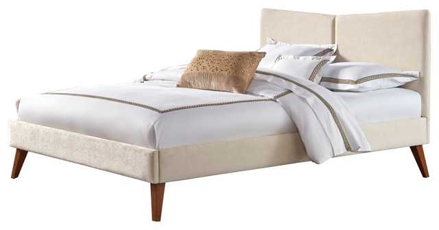 Parkland Upholstered Platform Bed With Angled Headboard, Ivory, Queen  traditional-platform-beds - Parkland Upholstered Platform Bed With Angled Headboard, Ivory