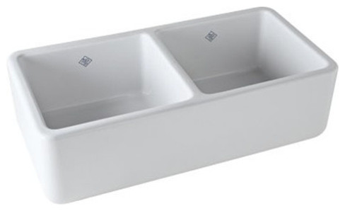 Rohl 37in Double-Basin Fireclay Apron-Front Kitchen Sink In White.