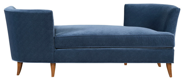 Lynae Cotton Velvet Tete-A-Tete Chair, Denim, 71""