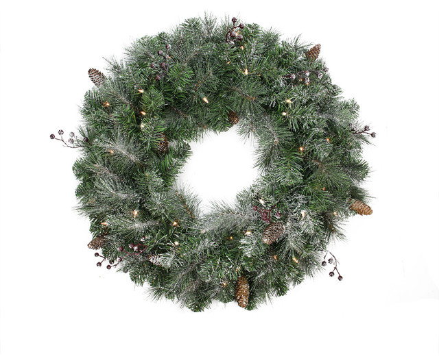 "30"" Arctic Mist Wreath, 150 Tips, 50 Clear Lights."