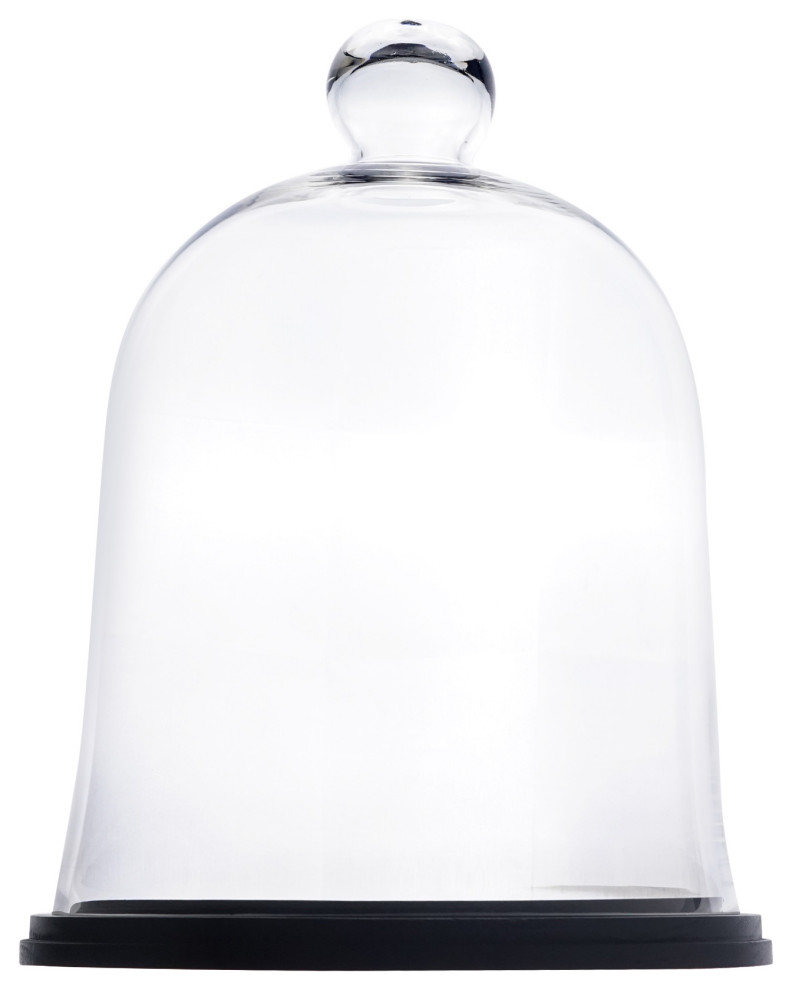 Glass Dome Cloche Terrarium Bell Jar With Black Wood Base 16 75 Contemporary Terrariums By Cys Excel Inc