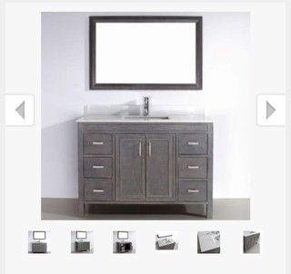 What color floor tile and shower tile should be used with grey vanity?