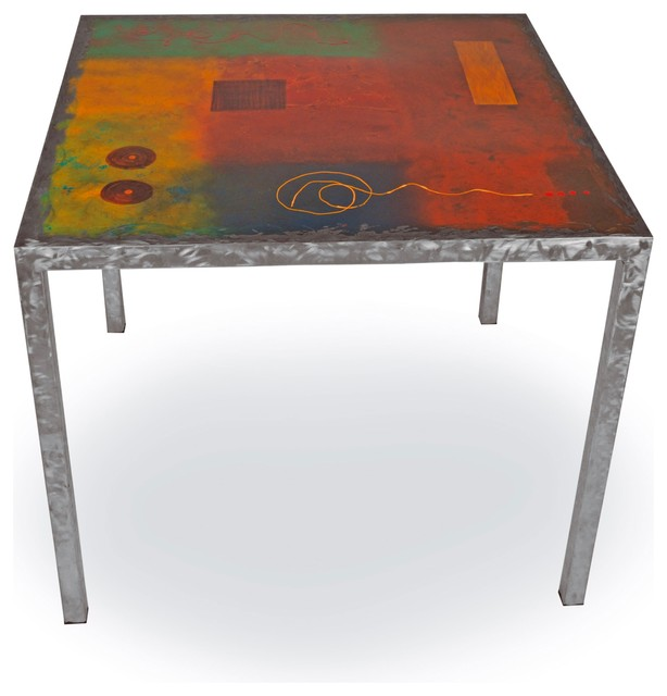 Metal Top Dining Table Part - 37: Modernite Dining Table With Painted Metal Top Dining-tables