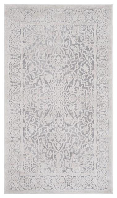 Bahira Traditional Area Rug, Light Grey and Cream, 90x150 cm
