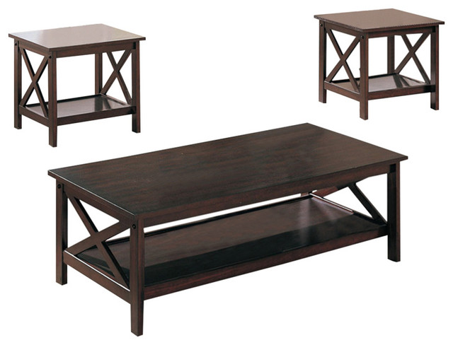 X Accent Dark Brown Finish 3 Piece Coffee End Side Table Set Coffee Table Sets By