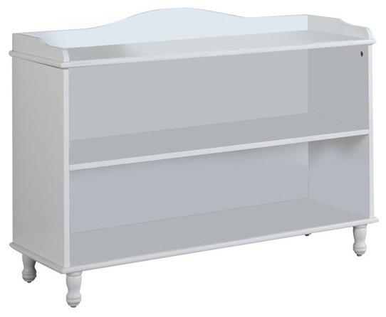 Wood 2-Tier Bookcase, White Finish.