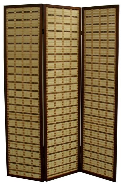 70 25 Tall Bamboo 3 Panel Screen Room Divider With Walnut Finish