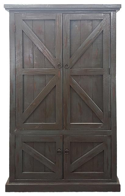 Rustic Double Door Pantry Light Blue