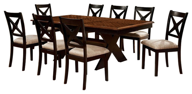 Liberta 7-Piece Cross Leg Table Solid Wood Dining Set With 18 Leaf by Furniture of America E-Commerce by Enitial Lab