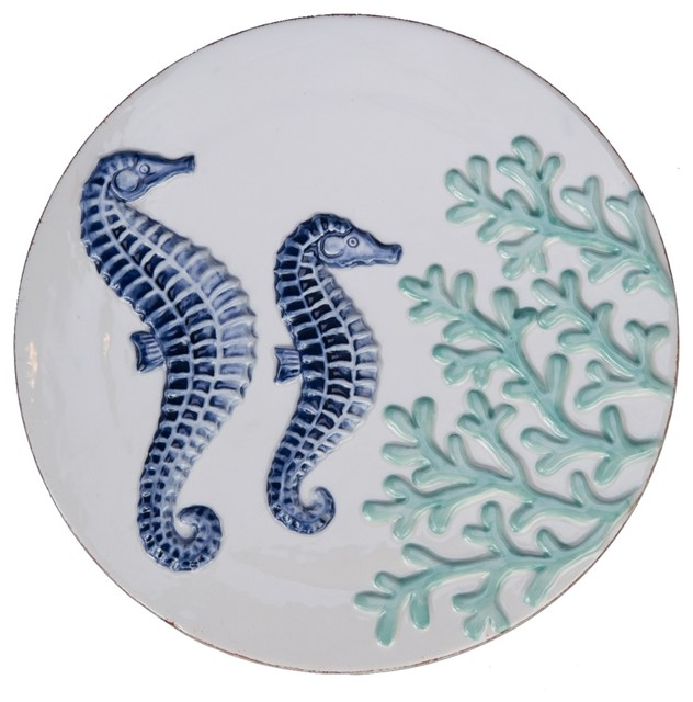 Seahorse Couple With Teal Coral Round Ceramic Trivet Kitchen Stovetop
