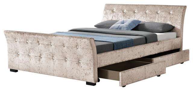 Madrid Sleigh Velvet 4 Drawer Bed, Double, Champagne