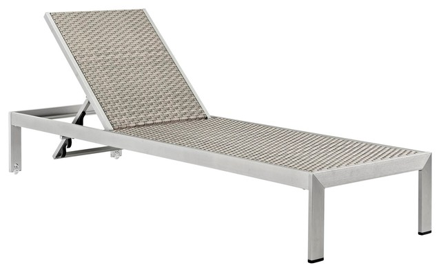 Modern Urban Outdoor Patio Rattan Chaise Lounge Chair, Gray Gray, Aluminum.