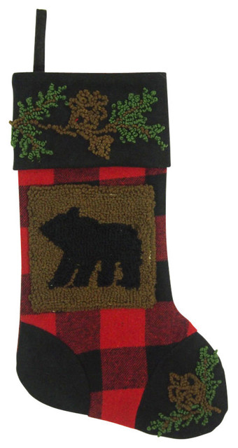 plaid christmas stocking with rug hooked bear andholders